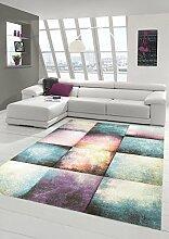 Teppich-Traum Designerteppich Moderner Teppich für Wohnzimmer Kurzflor Teppich bunt in Lila Blau Beige, Größe 160x230 cm