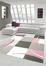 Teppich-Traum Designerteppich Moderner Teppich Wohnzimmerteppich Kurzflor Teppich mit Konturenschnitt Karo Muster Rosa Weiß, Größe 120x170 cm
