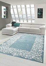Teppich-Traum Designerteppich Moderner Teppich Wohnzimmerteppich Kurzflor Teppich mit Bordüre Türkis Weiß, Größe 160x230 cm