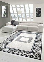 Teppich-Traum Designerteppich Moderner Teppich Wohnzimmerteppich mit Bordüre in Printtechnik in Schwarz Weiß Grau waschbar, Größe 140x200 cm Oval