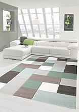 Teppich-Traum Designerteppich Moderner Teppich Wohnzimmerteppich Kurzflor mit Konturschnitt (Karo Muster) Öko-Tex in Grau Grün Weiß, Größe 200x290 cm
