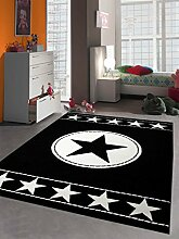 Teppich-Traum Kinderteppich Jugendteppich Kinderzimmerteppich Sternteppich Konturenschnitt in Schwarz Weiß, Größe 120x170 cm