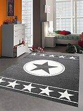 Teppich-Traum Kinderteppich Jugendteppich Kinderzimmerteppich Sternteppich Konturenschnitt Grau Weiß, Größe 200x290 cm