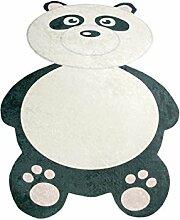 Teppich-Traum Kinderteppich Spielteppich in Printtechnik Kinderzimmerteppich mit Panda in Schwarz Weiss waschbar, Größe 100x140 cm