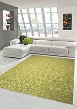 Teppich-Traum Küchenteppich Flachgewebe Indoor Outdoor Teppich modern beidseitig nutzbar in Grün Gelb, Größe 80x250 cm