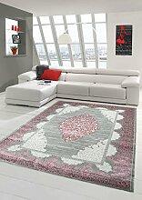 Teppich-Traum Wollteppich Designerteppich Moderner Teppich Wohnzimmerteppich Orientteppich mit Ornamente Meliert in Grau Rose, Größe 120x170 cm