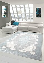 Teppich-Traum Wollteppich Designerteppich Moderner Teppich Wohnzimmerteppich Orientteppich mit Ornamente Meliert in Grau Türkis, Größe 120x170 cm