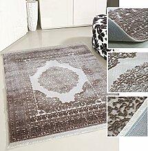 Teppich Vintage Design in Beige für Wohnzimmer Qualitativ mit Medaillon Muster dicht gewebt Kurzflor mit Hoch Tief Struktur (200 x 290 cm)