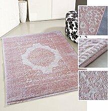 Teppich Vintage Design Rosa Pink für Wohnzimmer Qualitativ mit Medaillon Muster dicht gewebt Kurzflor mit Hoch Tief Struktur (160 x 230 cm)