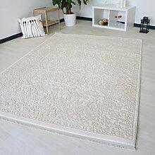 Teppich Vintage Design Weiß für Wohnzimmer hochwertig Modern und dicht gewebt in Kurzflor verchiedene Größen (120 x 170 cm)