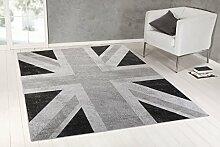 Teppich Vintage Flagge UK Union Jack grau 120X170
