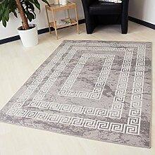 Teppich waschbar und rutschfest für Küche, Bad und Flur in Grau mit Versace Muster Kelim Kilim Oberfläche hochwertige Webung schadstoffgeprüft (120cm x 170cm)