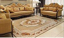 Teppich weich und bequem / stilvollFamilienbedarf Coral Fleece Teppich Wohnzimmer Schlafzimmer Matratze Halle Europäische Pastoral Teppich Nachtkaffeetisch Einfache Mat moderne rechteckige Teppich Familienbedarf ( Farbe : Gelb , größe : 130*190cm )