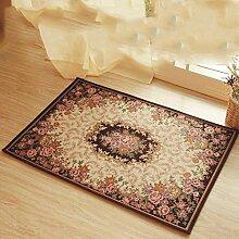 Teppich weich und bequem / stilvollFamilienbedarf Europäische Wohnzimmer Teppich Baumwolle Blumenteppichboden Bad Anti - Skid Matratze Foyer Matratze Schlafzimmer Bedside-Fuss-Auflage Familienbedarf ( größe : 50*80cm )