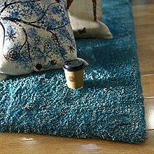 Teppich weich und bequem / stilvollFamilienbedarf Modernes unbedeutendes Wohnzimmer Teppichgeschäft für Heim Schlafzimmer Nacht Decke Nordic European American Büro Couchtisch Matte (Farbe: blau) Familienbedarf ( größe : 80CM × 180CM )