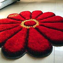 Teppich weich und bequem / stilvollFamilienbedarf Teppich runde Matten Computer Stuhl Kissen Europäische Stil Maschine waschbar Teppich (Blume / 90cm) Familienbedarf ( Farbe : Rot )