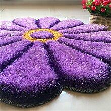 Teppich weich und bequem / stilvollFamilienbedarf Teppich runde Matten Computer Stuhl Kissen Europäische Stil Maschine waschbar Teppich (Blume / 90cm) Familienbedarf ( Farbe : Lila )