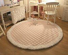 Teppich weich und bequem / stilvollFamilienbedarf Teppich runde Matte / Baby kriechende Matte rosa Baumwolle dicker (120 * 120cm) Familienbedarf