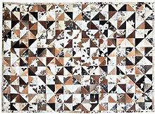 Teppich weiß braun 200 x 300 cm Kuhfell
