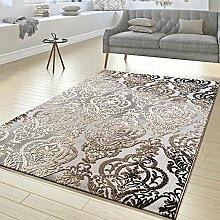 Teppich Wohnzimmer Abstrakt Ornament Muster Kurzflor Teppich Meliert Grau Beige, Größe:120x170 cm