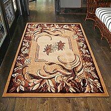 Teppich Wohnzimmer Beige mit Klassisch BLUMEN