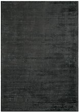 Teppich Wohnzimmer Carpet flach kurzflor Design REKO UNI RUG 60% Viskose 40% Baumwolle 160x230 cm Rechteckig Schwarz | Teppiche günstig online kaufen