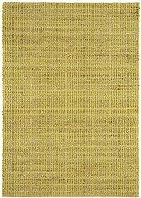 Teppich Wohnzimmer Carpet flachgewebt kurzflor Design RANGER UNI RUG 70% Jute 30% Baumwolle 66x200 cm Läufer Grün | Teppiche günstig online kaufen