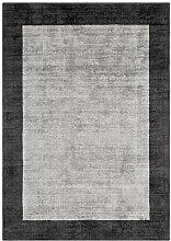 Teppich Wohnzimmer Carpet hochflor Design BLADE BORDER SHAGGY UNI RUG 100% Viskose 160x160 cm Quadratisch Grau | Teppiche günstig online kaufen