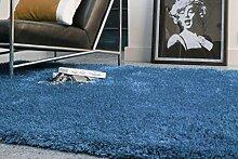 Teppich Wohnzimmer Carpet hochflor Design DIVA SHAGGY RUG 100% Polyester 60x120 cm Rechteckig Blau   Teppiche günstig online kaufen