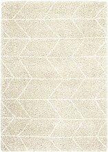 Teppich Wohnzimmer Carpet hochflor Design LOGAN WEB UNI RUG 100% Polypropylen 160x230 cm Rechteckig Beige | Teppiche günstig online kaufen