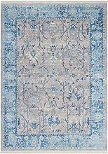 Teppich Wohnzimmer Carpet Klassisch Traditionell Design Tibet - Shannan RUG Ornament Bordüre Muster Polyester 160x230 cm Grau/Teppiche günstig online kaufen