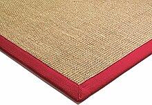 Teppich Wohnzimmer Carpet klassisches Design BORDERED SISAL RUG 100% Sisal mit Bordüre Baumwolle 200x300 cm Rechteckig Rot | Teppiche günstig online kaufen