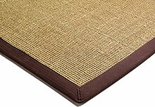 Teppich Wohnzimmer Carpet klassisches Design BORDERED SISAL RUG 100% Sisal mit Bordüre Baumwolle 200x300 cm Rechteckig Braun | Teppiche günstig online kaufen