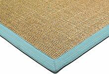 Teppich Wohnzimmer Carpet klassisches Design BORDERED SISAL RUG 100% Sisal mit Bordüre Baumwolle 200x300 cm Rechteckig Blau | Teppiche günstig online kaufen