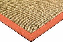 Teppich Wohnzimmer Carpet klassisches Design BORDERED SISAL RUG 100% Sisal mit Bordüre Baumwolle 68x300 cm Läufer Orange | Teppiche günstig online kaufen