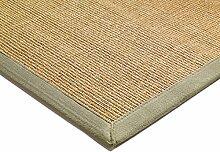 Teppich Wohnzimmer Carpet klassisches Design BORDERED SISAL RUG 100% Sisal mit Bordüre Baumwolle 200x300 cm Rechteckig Beige | Teppiche günstig online kaufen