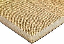 Teppich Wohnzimmer Carpet klassisches Design BORDERED SISAL RUG 100% Sisal mit Bordüre Baumwolle 68x300 cm Läufer Beige | Teppiche günstig online kaufen