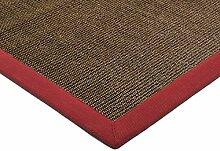 Teppich Wohnzimmer Carpet klassisches Design BORDERED SISAL RUG 100% Sisal mit Bordüre Baumwolle 120x180 cm Rechteckig Braun | Teppiche günstig online kaufen