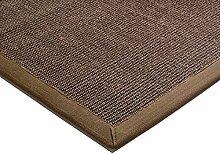 Teppich Wohnzimmer Carpet klassisches Design BORDERED SISAL RUG 100% Sisal mit Bordüre Baumwolle 240x340 cm Rechteckig Braun | Teppiche günstig online kaufen