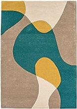 Teppich Wohnzimmer Carpet modern Design MATRIX ARC GEOMETRIE RUG 100% Wolle 200x300 cm Rechteckig Braun | Teppiche günstig online kaufen