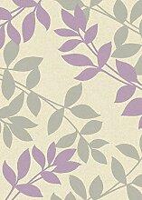 Teppich Wohnzimmer Carpet modernes Design FOCUS LEAVES BLAT RUG 100% Polypropylen 80x150 cm Rechteckig Lila | Teppiche günstig online kaufen