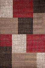 Teppich Wohnzimmer Carpet modernes Design Patchwork RUG Switzerland-Geneva Rot 160x230cm | Teppiche günstig online kaufen