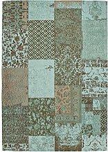 Teppich Wohnzimmer Carpet modernes Design Patchwork RUG Symphony 160 Türkis Chenille 80x150cm | Teppiche günstig online kaufen