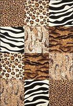 Teppich Wohnzimmer Carpet modernes Design Tierfell Imitat RUG USA-Chicago Beige 160x230cm | Teppiche günstig online kaufen