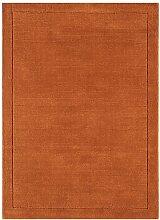 Teppich Wohnzimmer Carpet modernes Design YORK HANDLOOM UNI RUG 100% Wolle 120x170 cm Rechteckig Orange | Teppiche günstig online kaufen