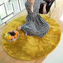 Teppich Wohnzimmer Decke Sofa Couchtisch Teppich Nachttuch Kinderzimmer Matte Runde ( Farbe : Turmeric , größe : 100*100cm )