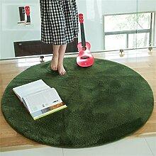 Teppich Wohnzimmer Decke Sofa Couchtisch Teppich Nachttuch Kinderzimmer Matte Runde ( Farbe : Dunkelgrün , größe : 100*100cm )