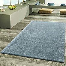 Teppich Wohnzimmer Designer Teppiche Hochflor Frieze Schimmer Pastell Türkis, Größe:200x290 cm