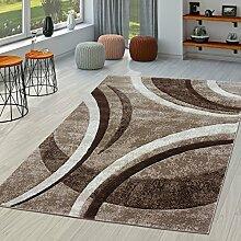 Teppich Wohnzimmer Gestreift Modern mit Konturenschnitt in Braun Beige Creme, Größe:240x330 cm