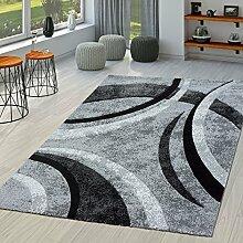 Teppich Wohnzimmer Gestreift Modern mit Konturenschnitt in Grau Schwarz Meliert, Größe:80x150 cm